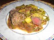 Lamm-Medaillion mit Roulade - Resteverwertung  - mit Bohnen-Kartoffel-Gemüse - Rezept