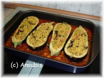 Hauptgericht vegetarisch - Gefüllte Aubergine mit Couscous - Rezept
