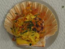 Jakobsmuscheln auf rotem Kartoffelpüree mit Safransoße - Rezept