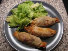 Strudelsäckchen mit Huhn und Pfifferlingen - Rezept
