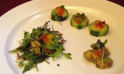 Salatgurke gefüllt mit Krebsfleisch, Sambai-Soße und Rettich mit Hagelkörnersoße - Rezept