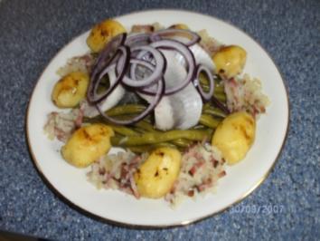 Matjes mit Böhnchen und Speckstippe - Rezept