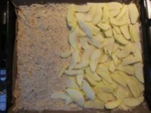 Apfelkuchen mit Pudding und Nussstreuseln - Rezept