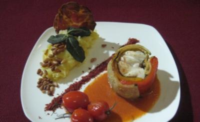 Calamansi-Seeteufelroulade im Gemüse-Cardigan mit mediterraner Kartoffelwolke - Rezept