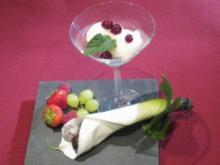 Champagner-Sorbet mit Cranberries und selbst gemachten Pralinen - Rezept