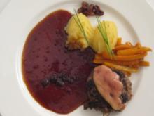 Boulettes Sauce Lapin mit Kartoffelpüree und Möhren in Martini Rosso - Rezept