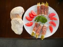 Spargelspitzen  in Rohschinken gewickelt - Rezept
