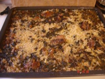 Lamm mit Reis und Spinat im Ofen - Rezept