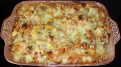 Auflauf herzhaft - Nudel-Kartoffel-Auflauf mit Leberkäse und Gemüse - Rezept