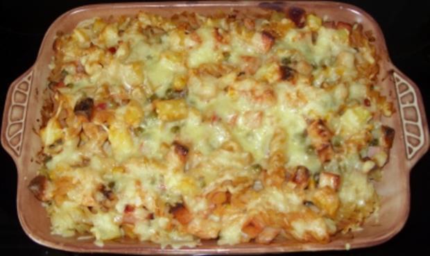 Auflauf herzhaft - Nudel-Kartoffel-Auflauf mit Leberkäse und Gemüse - Rezept - Bild Nr. 4