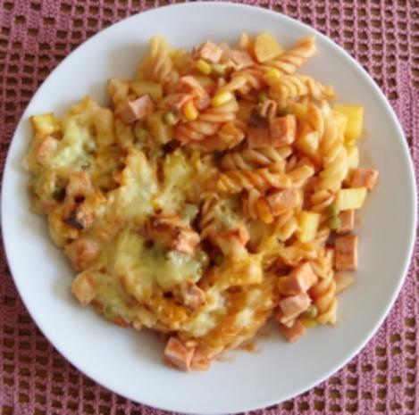 Auflauf herzhaft - Nudel-Kartoffel-Auflauf mit Leberkäse und Gemüse - Rezept - Bild Nr. 5