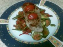 Schnitzel auf Weisswein-Gemüse-Bett - Rezept