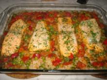 Lachs gebettet auf Gemüsereis und Shrimps - Rezept