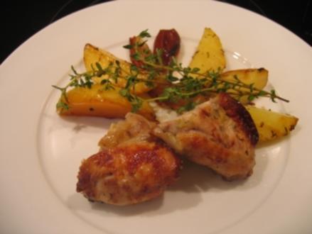 Kochduellrezept - gefüllte Hähnchenkeulen mit Backofenkartoffeln - Rezept