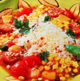 Kreolischer Gemüse Wurst Topf