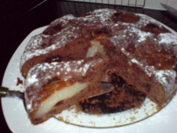 Birnen-Schoko-Nuss-Torte - Rezept