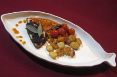 Dorade unter Olivenkruste mit lingurischem Gemüse und Gnocchi - Rezept