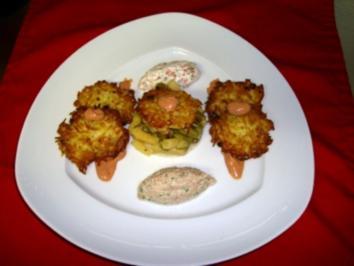 Lachsmousse & Thunfischmousse mit kleinen Röstis als Vorspeise - Rezept