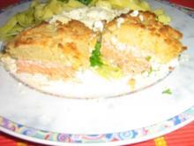 Zitronenlachs unter einer Parmesankruste mit Zitronensauce an Tagliatelle - Rezept