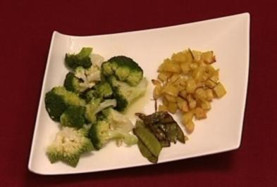 Rezept: Lammfilet auf Rotweinkirschsoße mit Rosmarinkartoffeln und Zuckererbsen (Miriam Cani)