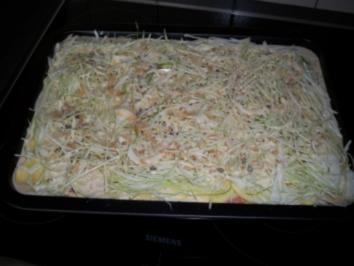 Auflauf aus Kohl, Hackfleisch und Kartoffeln mit Bier und Sahne - Rezept