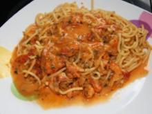Spaghetti mit Garnelen in Kräuter-Tomaten-Sauce - Rezept