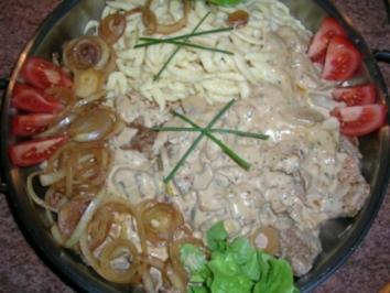 Filet-Pilz-Pfanne mit Käsespätzle  (für alle arbeitenden Männer, die am Abend großen Appetit mitbringen) - Rezept