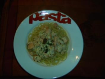 Spaghetti mit Garnelen-Lachs-Sahnesoße - Rezept