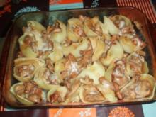 Muschelteigwaren gefüllt mit frischen Champignons, Eierschwämmen und Austernpilzen. - Rezept