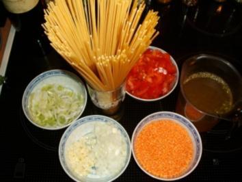 Rezept: Spaghetti mit roter Linsensauce