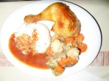Hähnchenschenkel mit Reis und Kaisermeerrettichgemüse - Rezept