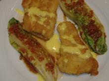 Gedünstete Salatherzen mit gebr.Fischfilet und Zitronenschaum - Rezept