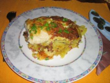 Fischfilet auf Bratkartoffeln unter einer Senf-Käse-Kruste - Rezept