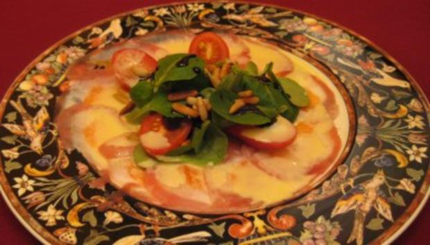 Carpaccio vom Lachs, Steinbeißer und Thunfisch mit Wasabi-Dressing - Rezept