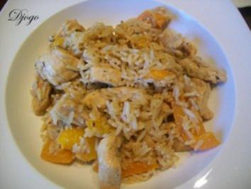 Reis - Paprika - Hähnchen Pfanne - Rezept