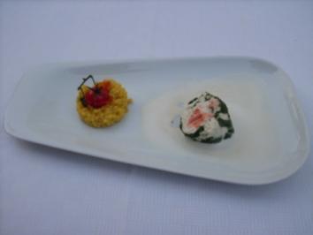 Rezept: Weißfisch- und Lachsroulade im Spinatmantel auf Riesling-Soße mit Reis