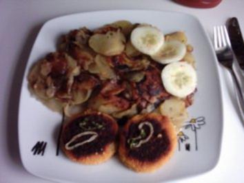 Bratkartoffeln mit Fischburger - Rezept