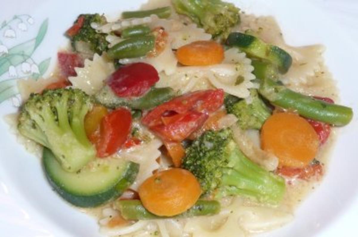 Pfannengericht: Italienisches Gemüse mit Nudeln und Feta - Rezept Gesendet von Willmei