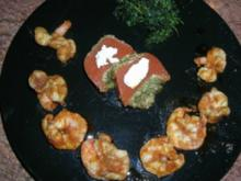 teuflisch scharfe Scampi an Tomaten-Zitronenmelisse-Terrine mit frittierter Petersilie  (siehe Fotos) - Rezept