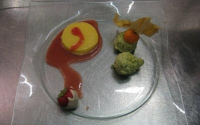 Mangopudding mit Erdbeerchampagnersoße und Pistazieneis - Rezept
