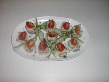 Gurkenröllchen mit Forellen - Meerrettichcreme - Rezept