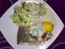 ** aus dem Ofen ** Lachsforelle mit Spinat-Fettucini und Dillsahnesoße - Rezept
