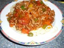Bunte Hacksoße auf Spaghetti - Rezept