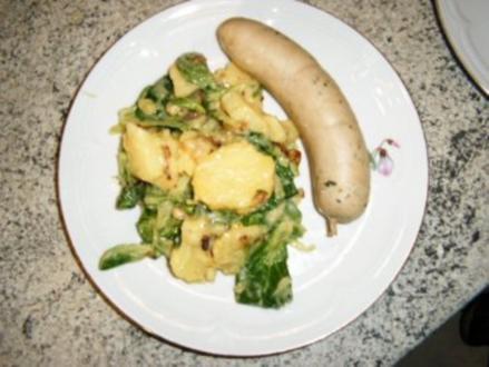 Speck-Zwiebel-Kartoffelsalat mit Rapünzel - Rezept