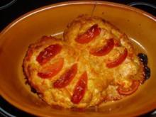 Auberginen mit Paprika-Ziegenfrischkäse-Füllung - Rezept