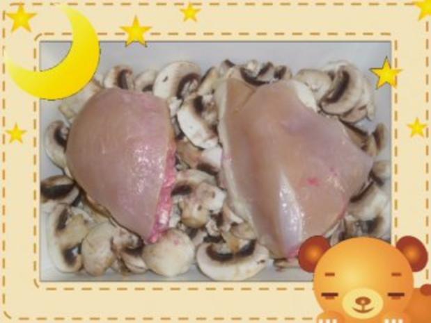 Champignon-Sahne-Hähnchen mit Preiselbeerfüllung - Rezept - Bild Nr. 3