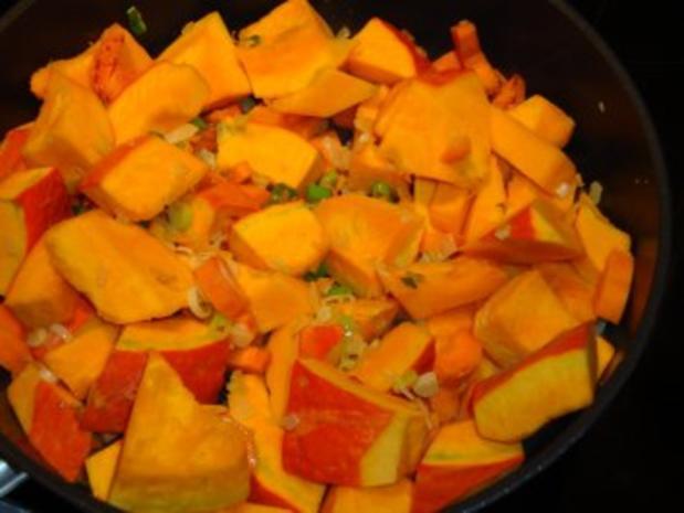 Putengeschnetzeltes mit Reis & Kürbis-Kokosmilch-Soße - Rezept - Bild Nr. 4