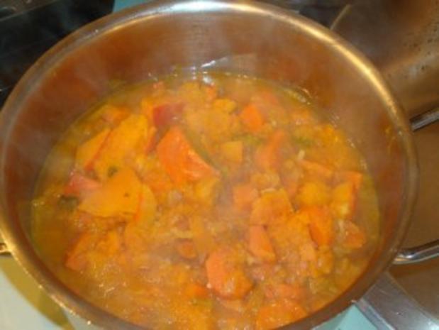 Putengeschnetzeltes mit Reis & Kürbis-Kokosmilch-Soße - Rezept - Bild Nr. 5