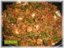 Hackfleischgericht - Reispfanne mit Bohnen und Feta - Rezept