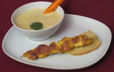 Curry-Zitronengrassuppe mit Hähnchenspieß - Rezept